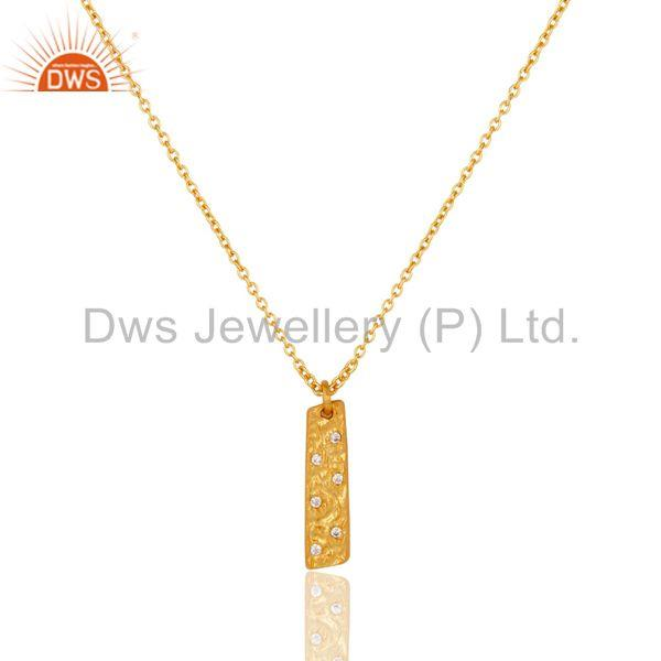 18K Yellow Gold Plated Traditional Handmade Charm Brass Chain Pendant Neklace