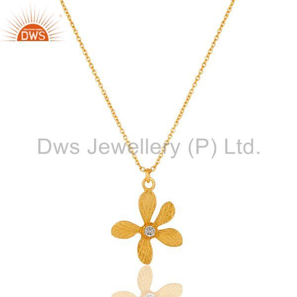 18k Gold Plated White Zirconia Handmade Flower Style Brass Chain Pendant