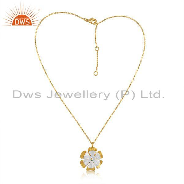 Zircon green set floral fine brass gold pendant and chain