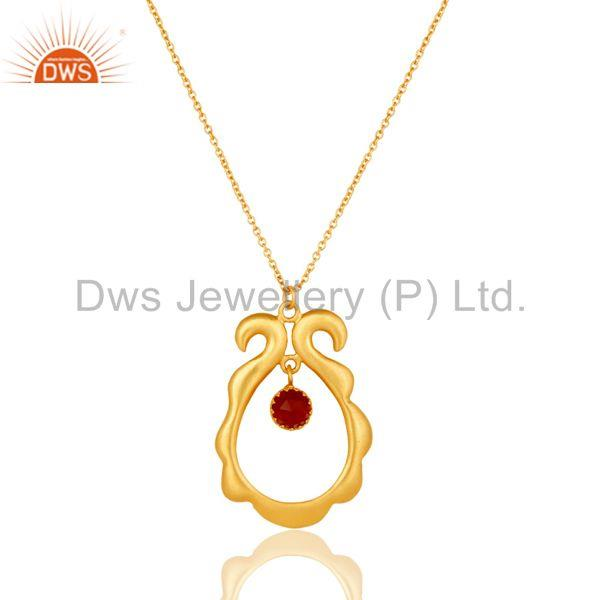 18k Gold Plated Vintagle Temple Style Brass Chain Pendant With Naturl Red Onyx