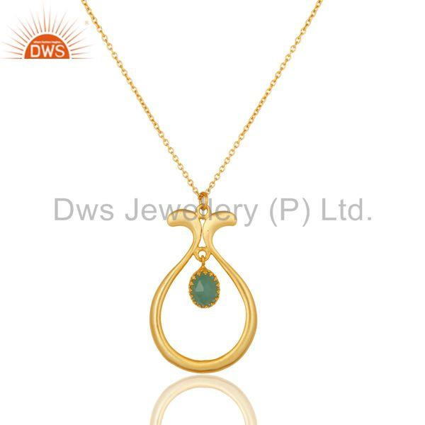 18k yellow gold plated handmade cultured aqua brass chain pendant necklace