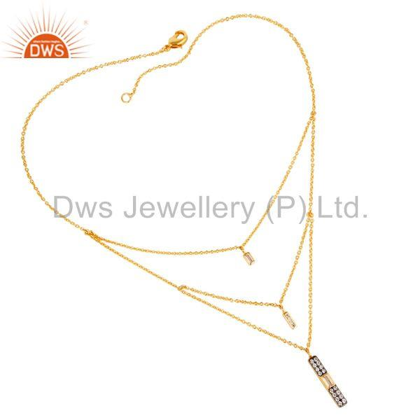 "Mind Blowing White Zirconia Brass 18"" Chain Pendant With 22K Yellow Gold Plated"