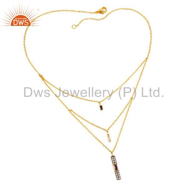 "22k gold plated zircon blue sapphire & white zirconia brass 18"" chain pendant"
