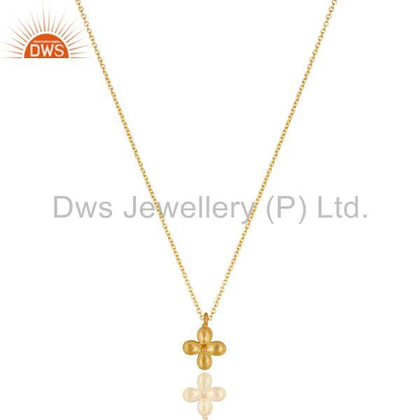 14K Yellow Gold Plated Handmade Flower Design Brass Chain Pendant Necklace
