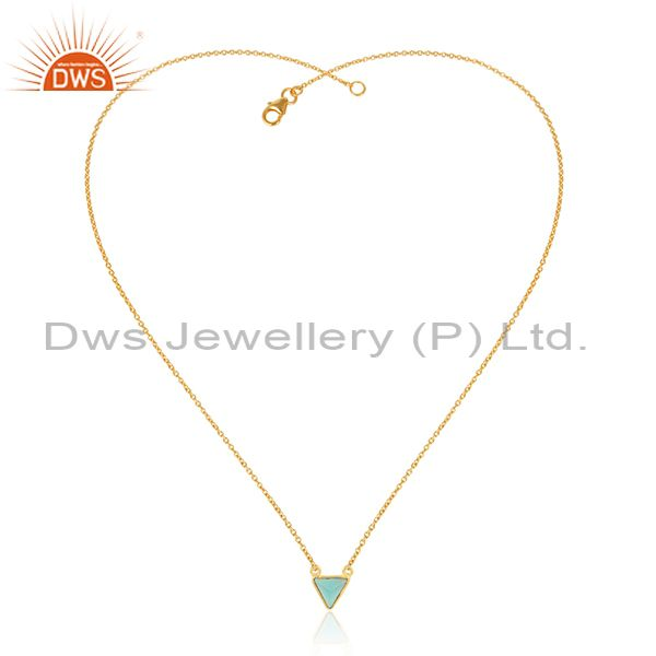 14K Yellow Gold Plated Handmade Dyed Chalcedony Bezel Set Brass Chain Pendant