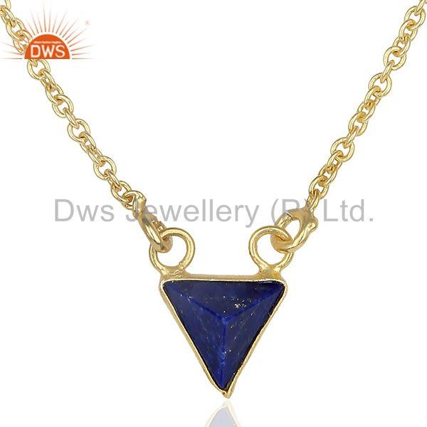 14K Yellow Gold Plated Handmade Pyramid Design Lapis Lazuli Chain Pendant