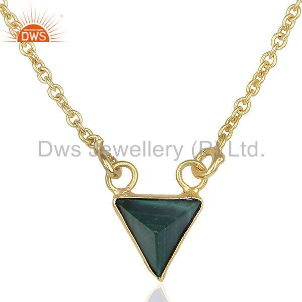 14K Yellow Gold Plated Handmade Pyramid Design Natural Malachite Chain Pendant