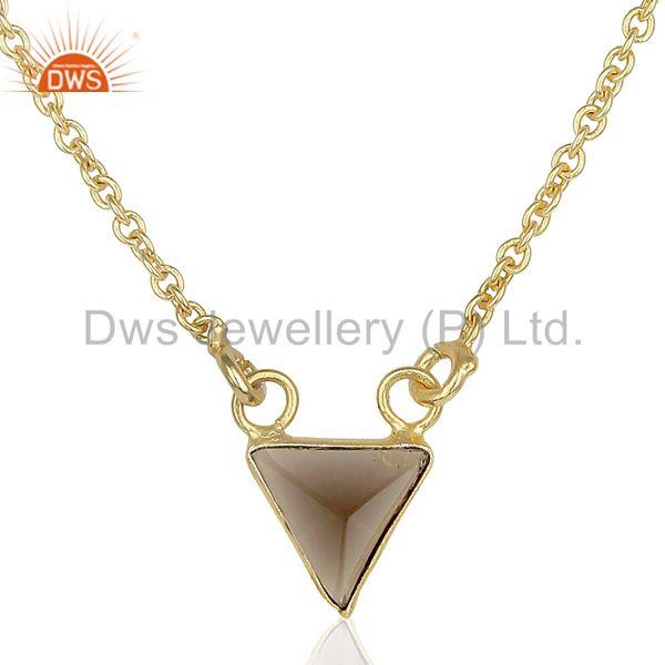 14K Yellow Gold Plated Handmade Pyramid Design Smoky Topaz Chain Pendant