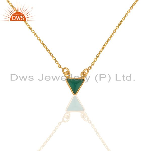 14K Yellow Gold Plated Handmade Green Onyx Bezel Set Brass Chain Pendant