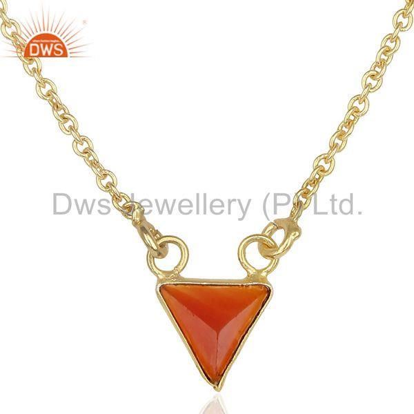 Red Stone Triangle Pendent 14 K Gold Plated Chain Pendent