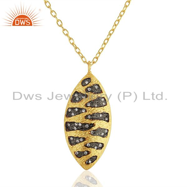 Indian Handmade Brass Fashion Gold Plated Cz Gemstone Pendant