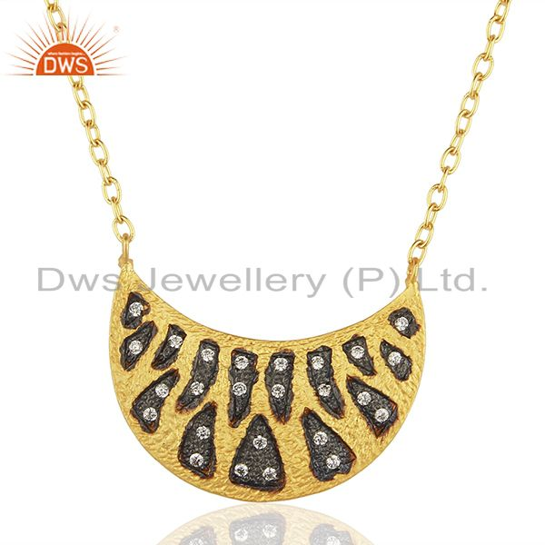Designer Gold Plated Brass Fashion CZ Gemstone Chain Necklace jewelry