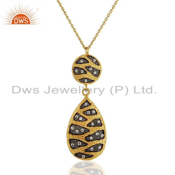 Traditional Gold Plated Brass Fashion Cz Gemstone Pendant Wholesale