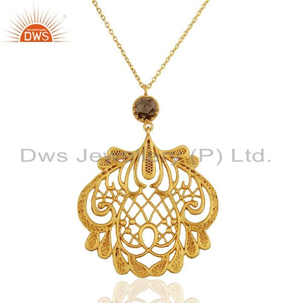 Filigree Design Brass Gold Plated Fashion Gemstone Traditional Pendant