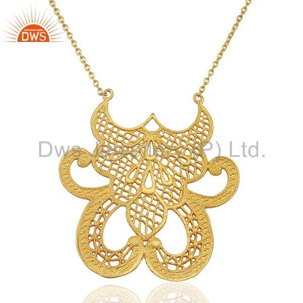 Gold Plated Brass Filigree Design Wedding Wear Necklace Jewelry