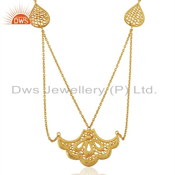 Indian Filigree Design Gold Plated Brass Fashion Wedding Wear Necklace