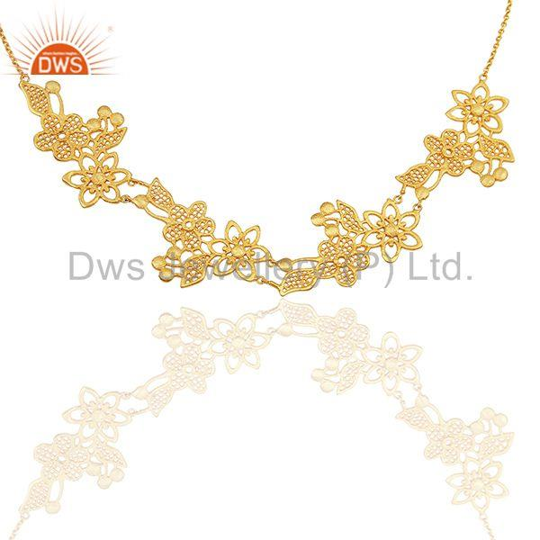 Floral Design Brass Gold Plated Fashion Women Necklace Jewelry