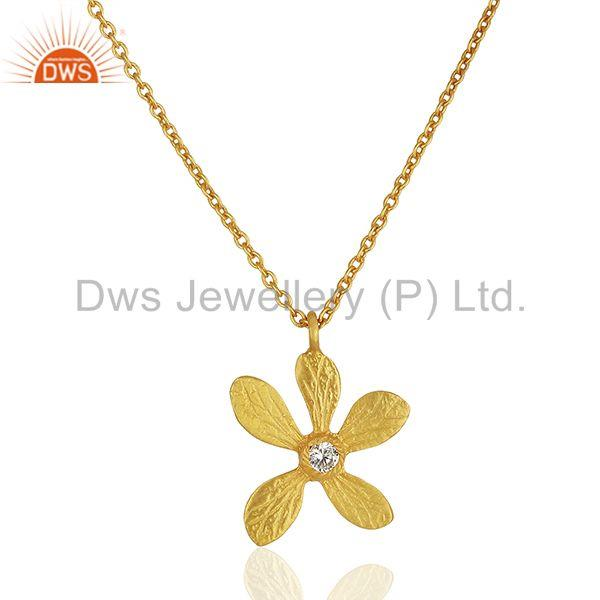 Floral Design Brass Gold Plated Fashion White Zircon Pendant Jewelry