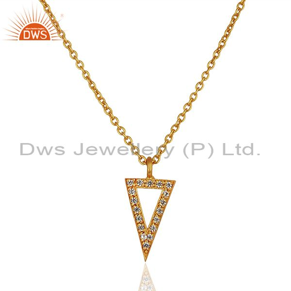 Triangle Design Brass Gold Plated White Zircon Chain Pendant Jewelry