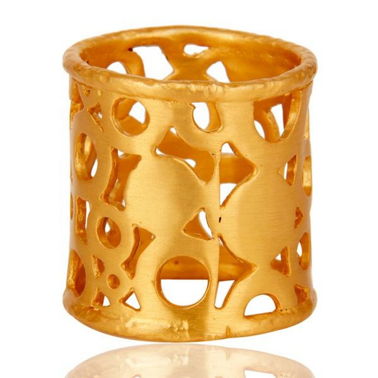 Good Design Tradition Brass Ring With 18k Gold Plated