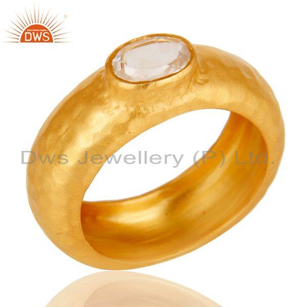 AAA+++ Design Brass Ring With 18k Gold Plated and Crystal Quartz