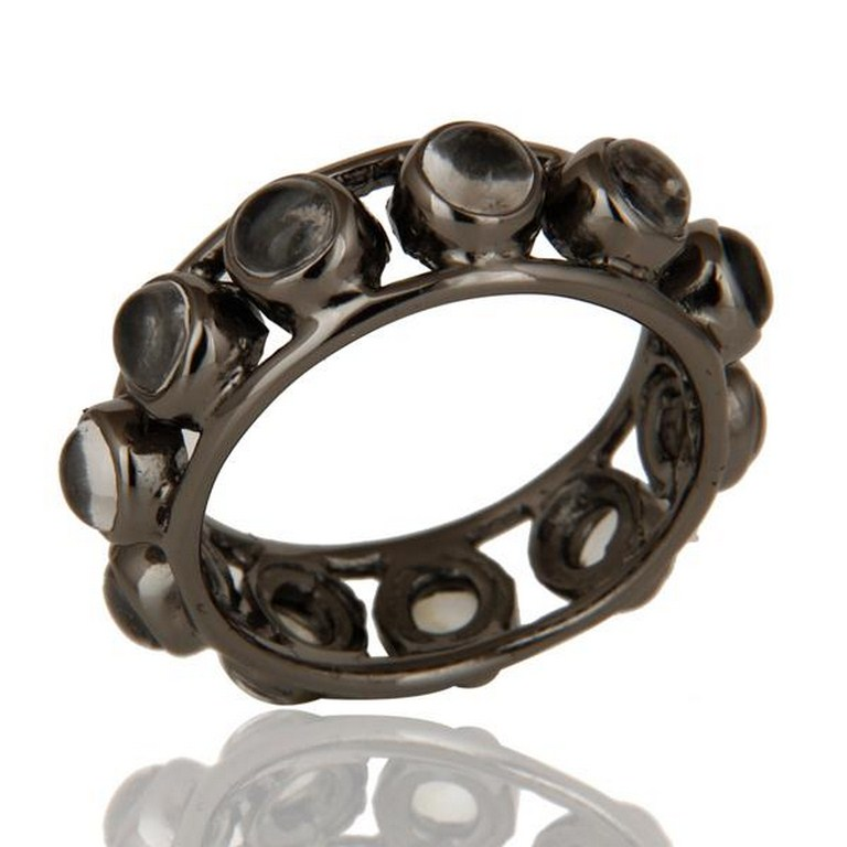 Traditional Black Oxidized Round Cut Brass Ring with Crystal