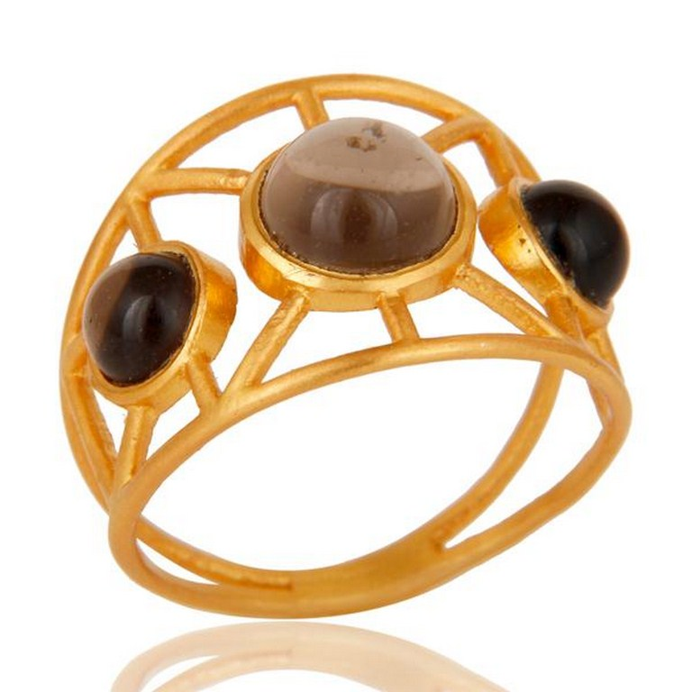 18k Gold Plated Traditional Brass Ring with Smokey Topaz