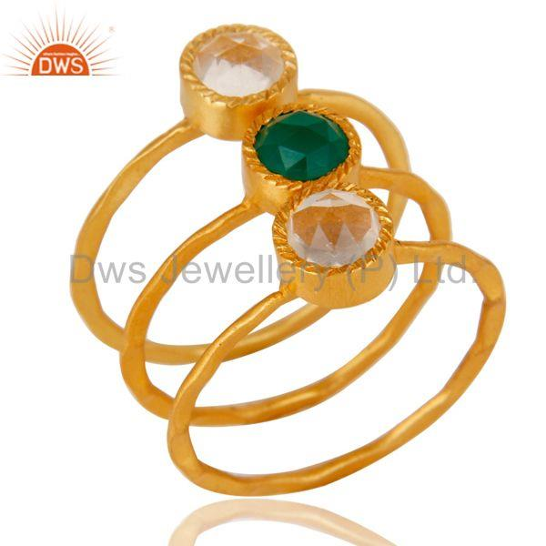 18K Gold Plated Green Onyx & Crystal Quartz 3 Set Of Brass Stackable Ring
