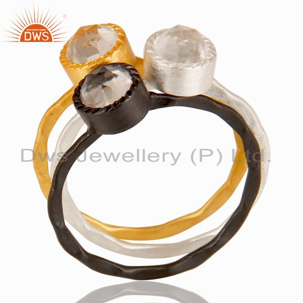 14K Gold, Black Oxidized & Silver Plated Crystal Quartz Three Set Of Brass Ring