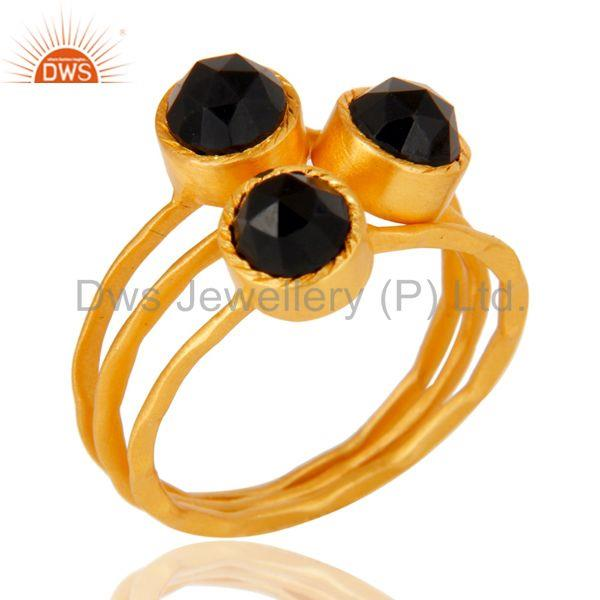 18K Gold Plated Black Onyx Rose Cut 3 Set Of Brass Stackable Ring
