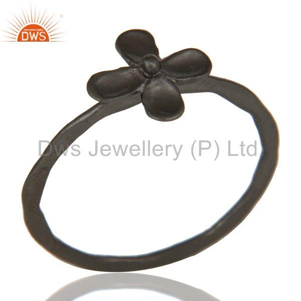 Lovely Black Oxidized Handmade Flower Design Brass Stackable Ring
