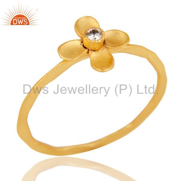 Handmade Flower Design White Zirconia Brass Stackable Ring With 18k Gold Plated