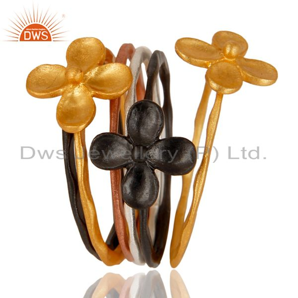 18K Rose, Gold, Black & Silver Plated Handmade Six Set Of Brass Stackable Ring