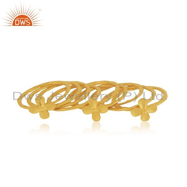 Wholesale Floral Brass Gold Plated Handmade 9 Rings Set Jewelry