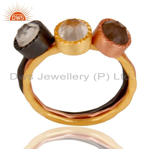 Three Gemstone Multi Color Brass Fashion Rings Jewelry Manufacturer