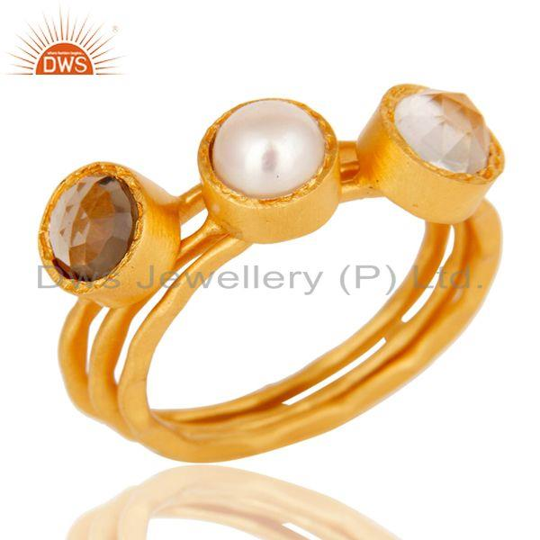 Crystal, Pearl & Smokey Topaz Three Set Brass Ring with 18k Gold Plated