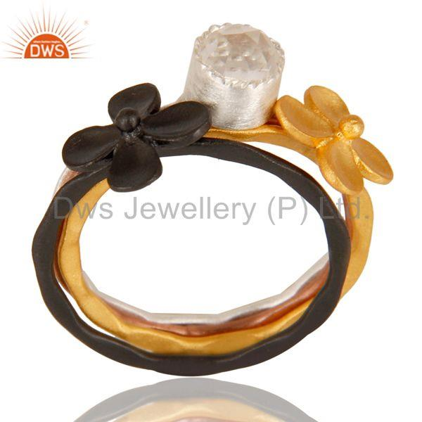 Floral Design Multi Color Brass Fashion Rings Jewelry Wholesale