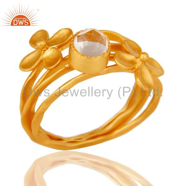22K Gold Plated Handmade Crystal Quartz 3 Set Of Brass Stackable Ring
