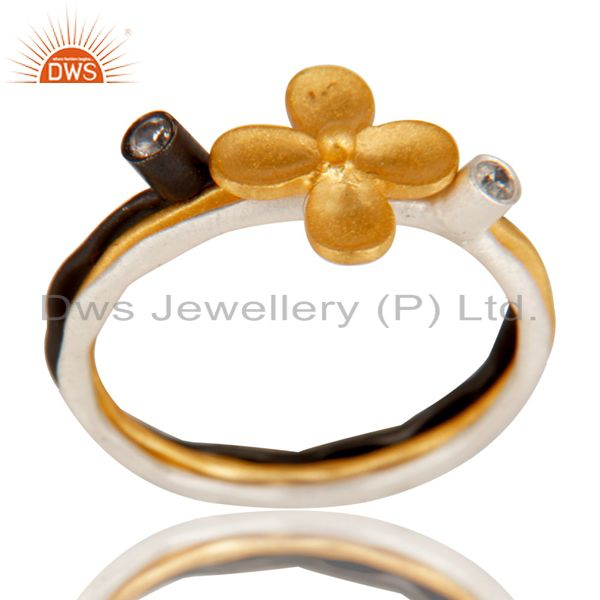 Flower Design Multi Color Plating Cz Gemstone Rings Manufacturer