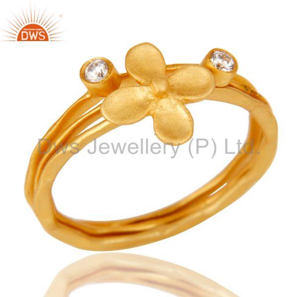 18k Gold Plated White Zirconia 3 Set Of Charm Statement Brass Ring