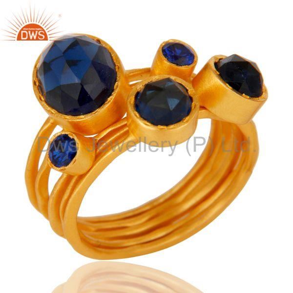 22K Gold Plated Zircon Blue Sapphire & Blue Corrundum 5 Set Of Ring