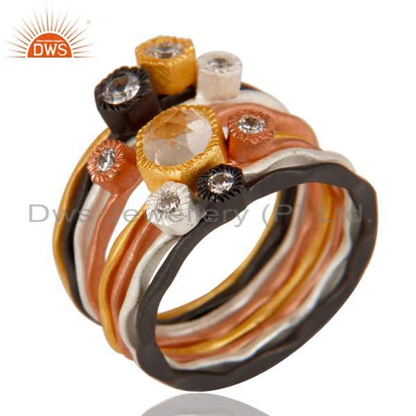 White Zircon Multi Color Brass Fashion Ring Set Jewelry Manufacturer
