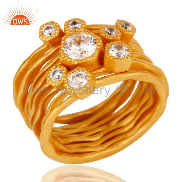 22K Gold Plated Handmade White Zirconia 8 Set Of Brass Stackable Ring