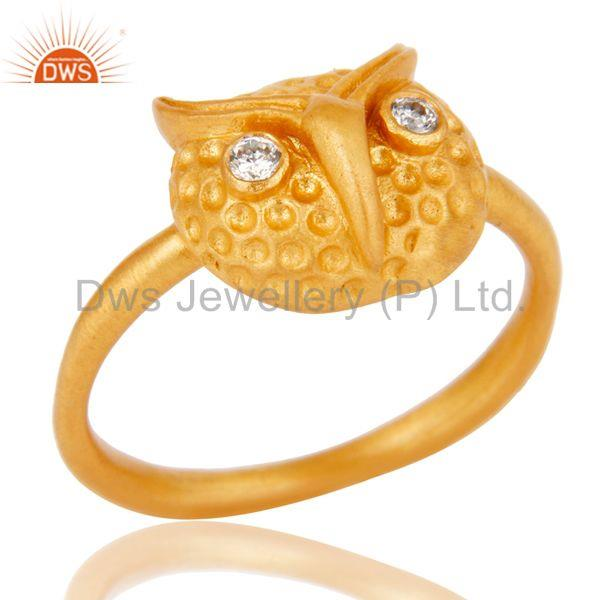 Mind Blowing Handmade Owl Design White Zirconia Brass Ring With 18k Gold Plated