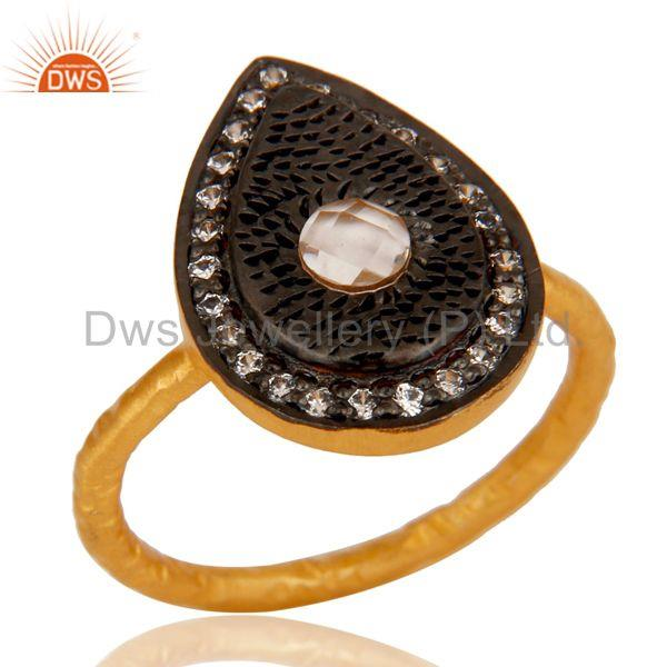18k Gold Plated Handmade Design Brass Ring with White Zircon