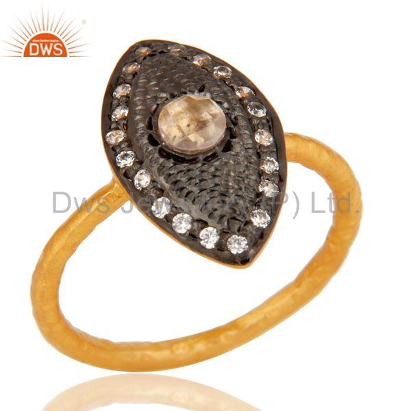 Traditional 18k Gold Plated Handmade Design Brass Ring with White Zircon