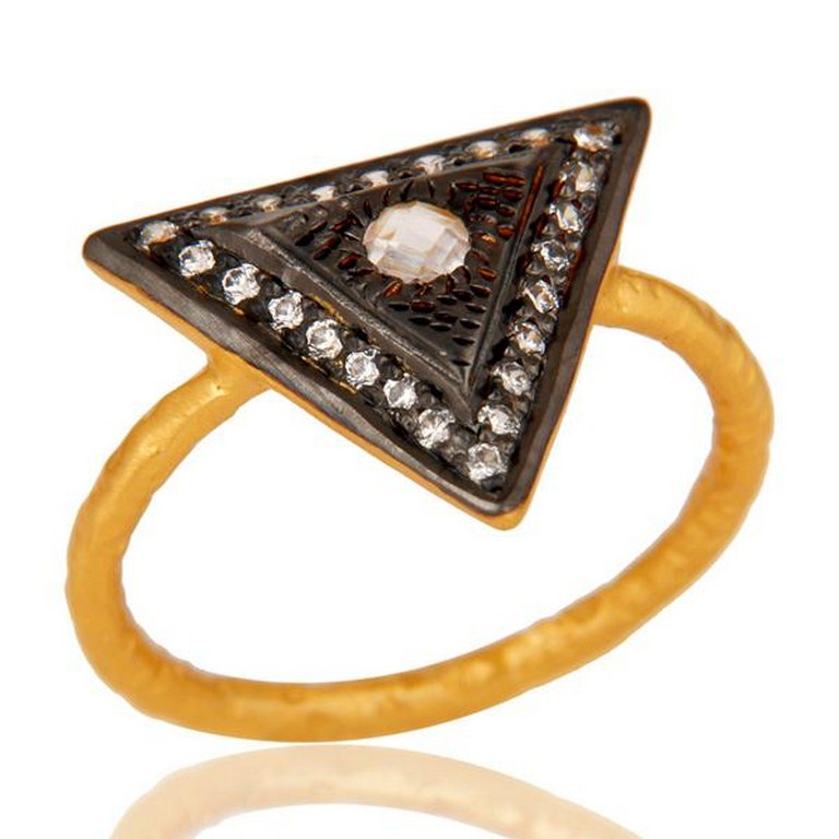 18k Gold Plated Designer Brass Ring With White Zircon