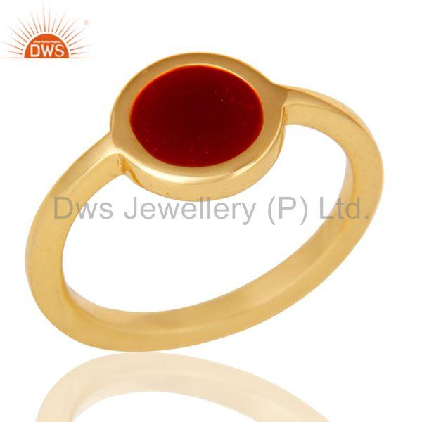 18k Yellow Gold Plated Traditional Handmade Red Enamel Brass Ring Jewellery