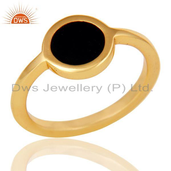 18k Yellow Gold Plated Traditional Handmade Black Enamel Brass Ring Jewellery