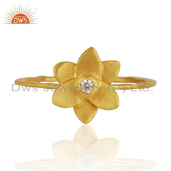 Traditional Handmade Flower Brass Flower Design Ring with 18k Gold Plated